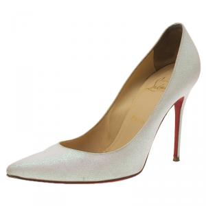 Christian Louboutin White Glitter Decollete Pumps Size 39