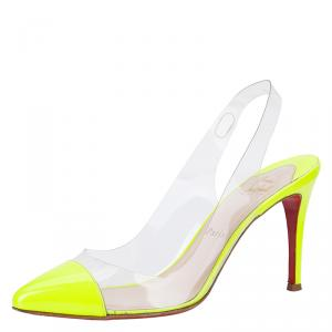 Christian Louboutin Neon Yellow Bis Un Bout Slingback Sandals Size 38.5