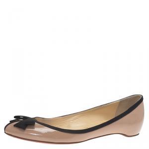 Christian Louboutin Beige Patent Balinodono Bow Ballet Flats Size 36.5