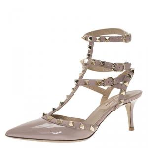 Valentino Beige Patent Rockstud Ankle Strap Sandals Size 36.5
