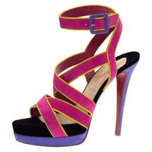 Christian Louboutin Multicolor Suede Straratata Strappy Platform Sandals Size 39