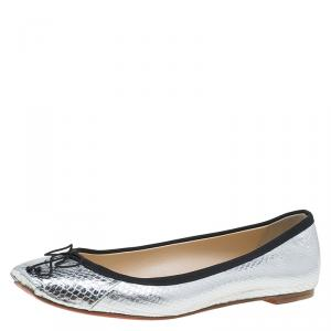 Christian Louboutin Silver Python Embossed Leather Rosella Square Toe Ballet Flats Size 37.5