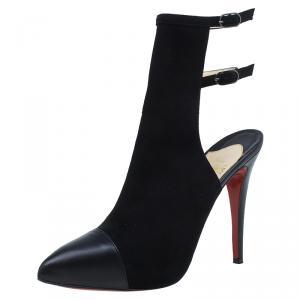 حذاء كريستيان لوبوتان سيور مزدوجة مقدمة مغلقة سويدي أسود مقاس 39.5