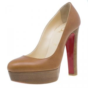 Christian Louboutin Brown Leather Bibi Platform Pumps Size 38