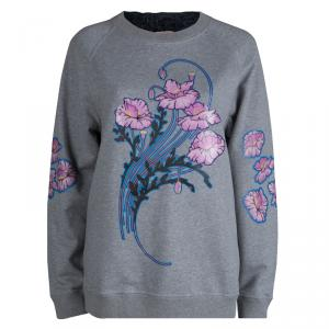 Christopher Kane Grey Bouquet Print Applique Detail Sweatshirt S