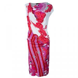 Class by Roberto Cavalli White and Pink Printed Sleeveless Dress M