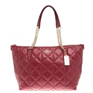 Coach Red Quilted Leather Ava Chain Tote