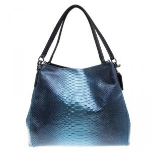 Coach Navy Blue Iridescent Python Embossed Leather Tote
