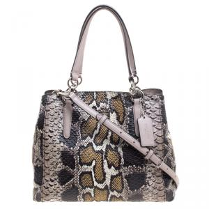 Coach Multicolor Python Embossed Leather Convertible Tote