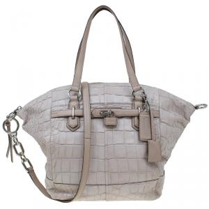 Coach Beige Croc Embossed Leather Shopper Tote