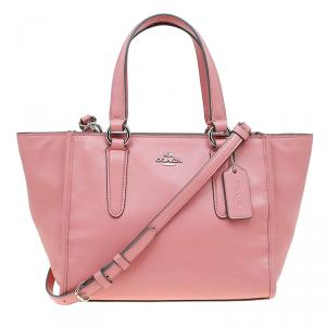 Coach Pink Leather Caryall Top Handle Bag