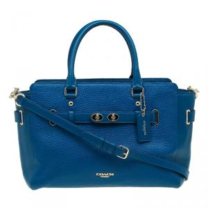 Coach Blue Leather Swagger Carryall Top Handle Bag