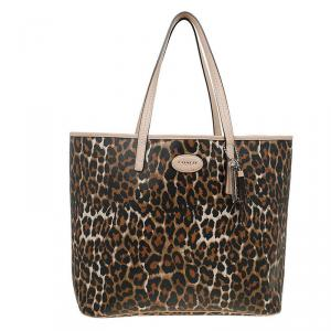 Coach Brown Leopard Print Coated Canvas Metro Ocelot Tote