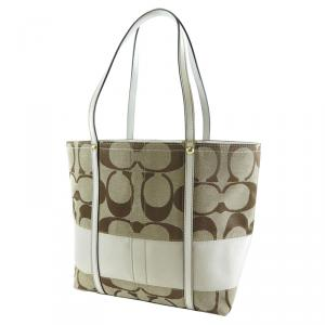 Coach Brown Signature Canvas White Stripe Tote