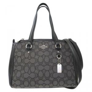 Coach Black Signature Canvas/Leather Stanton Carryall 26 Tote