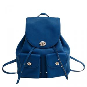 Coach Blue Refined Pebble Leather Turnlock Tie Rucksack Backpack
