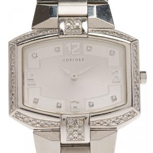Concord Silver Stainless Steel La Scala Tonneau Horizontal Diamonds Women's Wristwatch 38MM