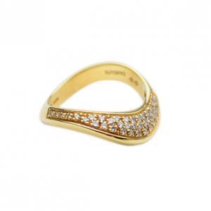 "Damiani 18KT Yellow Gold Diamond ""Dunes"" Ring Size 54.5"