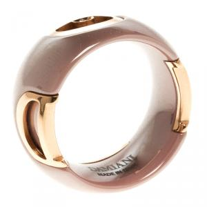 Damiani D.Icon Cappuccino Ceramic 18k Rose Gold Ring Size 51