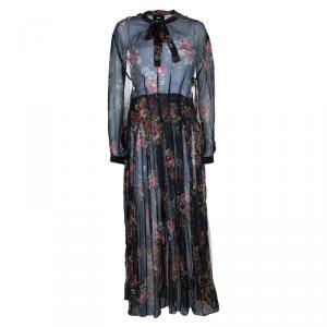 D and G Floral Silk Chiffon Maxi Dress M