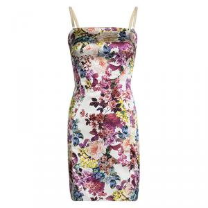 D and G Multicolor Floral Printed Silk Sleeveless Dress S