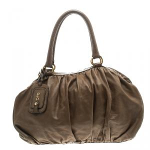 D&G Brown Leather Regina Satchel