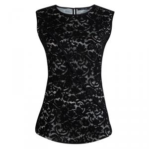 Derek Lam Black Lace Overlay Sleeveless Top L