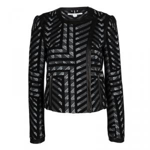 Diane Von Furstenberg Monochrome Jacquard Leather Trim Esther Jacket M