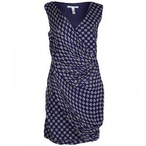 Diane Von Furstenberg Navy Blue Silk Star Print Ruched Francia Dress L