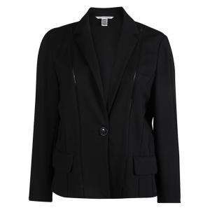 Diane Von Furstenberg Black Knit Jica Jacket XL
