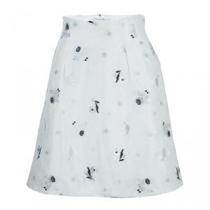 Dior Cream Lurex Embroidered Silk Skirt S