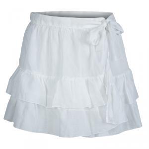 Dior White Cotton Voile Tiered Wraparound Mini Skirt M