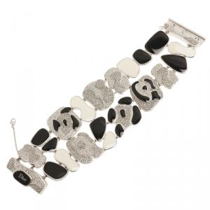 Dior Animalia Crystal Black And White Enamel Silver Tone Bracelet