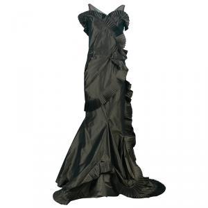 Dior Olive Green Silk Taffeta Gown S