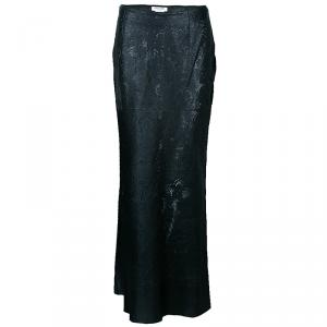 Dior Black Leather Laser Cut Skirt M