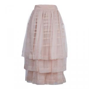 Dior Beige Layered Horizontal Pintuck Detail Silk Skirt M