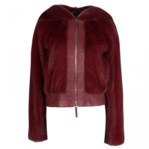 Dior Red Mink Fur and Leather Hooded Jacket S
