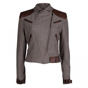 Dior Brown Leather Patch Detail Tweed Jacket M