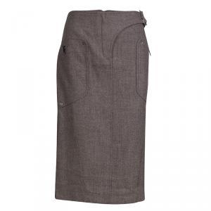 Dior Brown Buckle Detail Tweed Skirt M