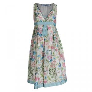 Dior Cream Floral Printed Silk Bow Detail Sleeveless Dress S
