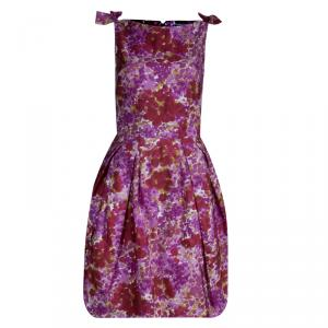 Dior Pink Floral Printed Silk Bow Detail Sleeveless Dress S