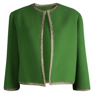 Dior Green Fleece Wool Metallic Edging Detail Box Jacket M