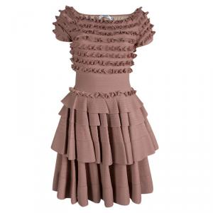 Dior Pink Knit Tiered Ruffle Detail Dress M