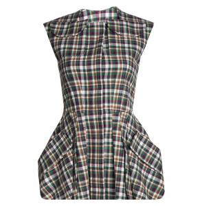 Dior Multicolor Cotton Plaid Dress Vest S