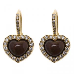Dior Diamond & Iridescent Garnet Yellow Gold Heart Dangle Earrings