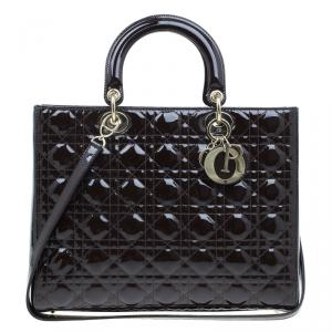 Dior Brown Patent Leather Large Lady Dior Tote