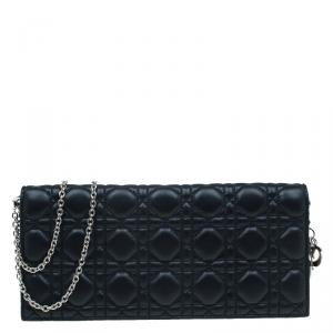 Dior Black Cannage Quilted Leather Folded Chain Evening Bag