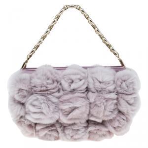 Dior Blush Pink Rabbit Fur Evening Bag