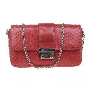Dior Red Python New Lock Chain Clutch Bag