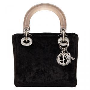 Dior Black Velour Lady Dior Bag